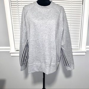 Avia Gray Sweatshirt Black/White Stripes Accents